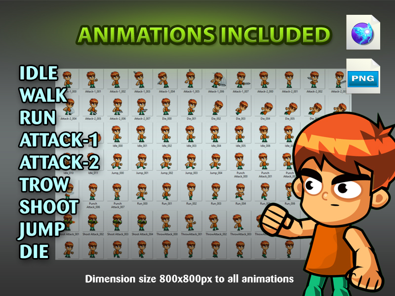 The Boy Warriors 2d Game Character Sprites 01 Gamepro