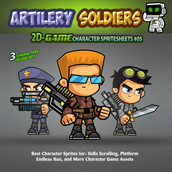 artillery soldiers- 2d game character sprites 05 | gamepro market