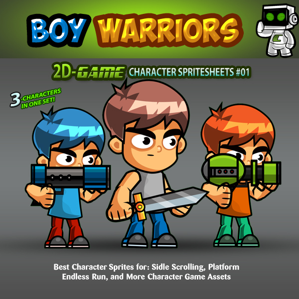 The Boy Warriors- 2D Game Character Sprites 01 | GamePro Market