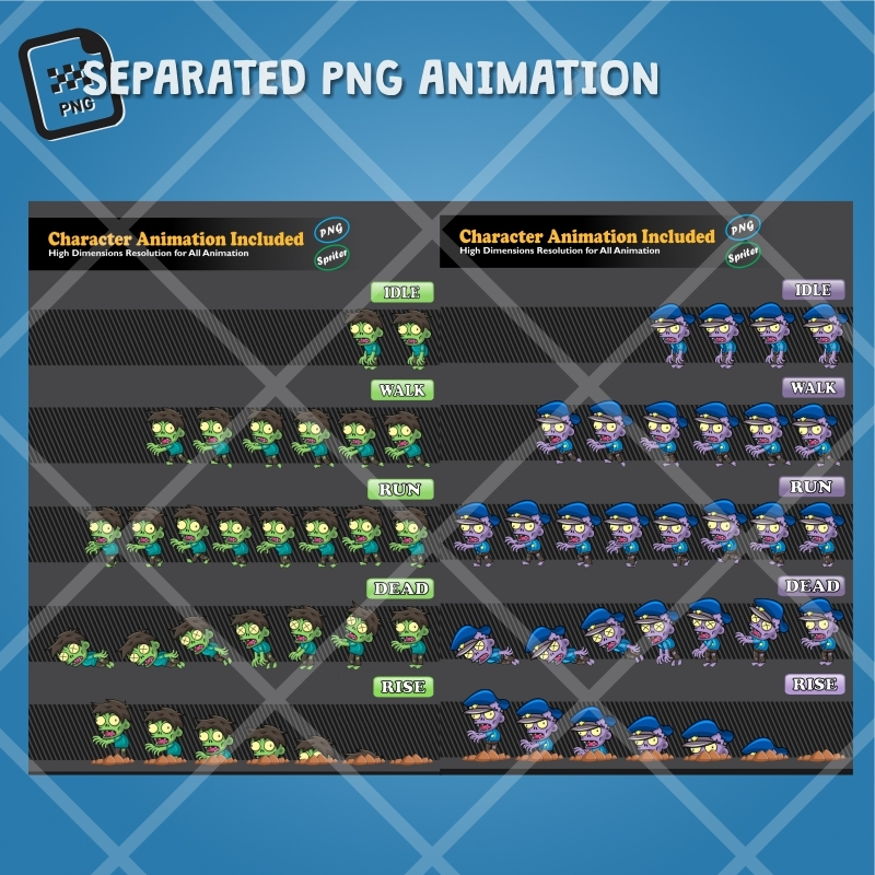 Zombie Pack 2D Game Character Sprite | GamePro Market